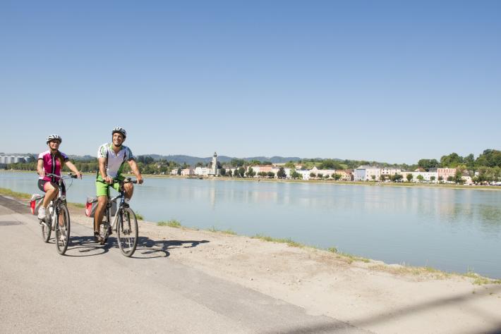 Donauradweg mit Blick auf Aschach